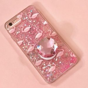 Cascading iPhone Flamingo Glitter Case +Phone Grip